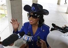 Rep. Frederica Wilson (D-FL) speaks about the death of Sgt. La David Johnson before attending a congressional field hearing on nursing-home preparedness and disaster response on October 19, 2017, in Miami.