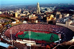 In this  November 1999 photo Pitt plays Notre Dame at Pitt Stadium before it is demolished.