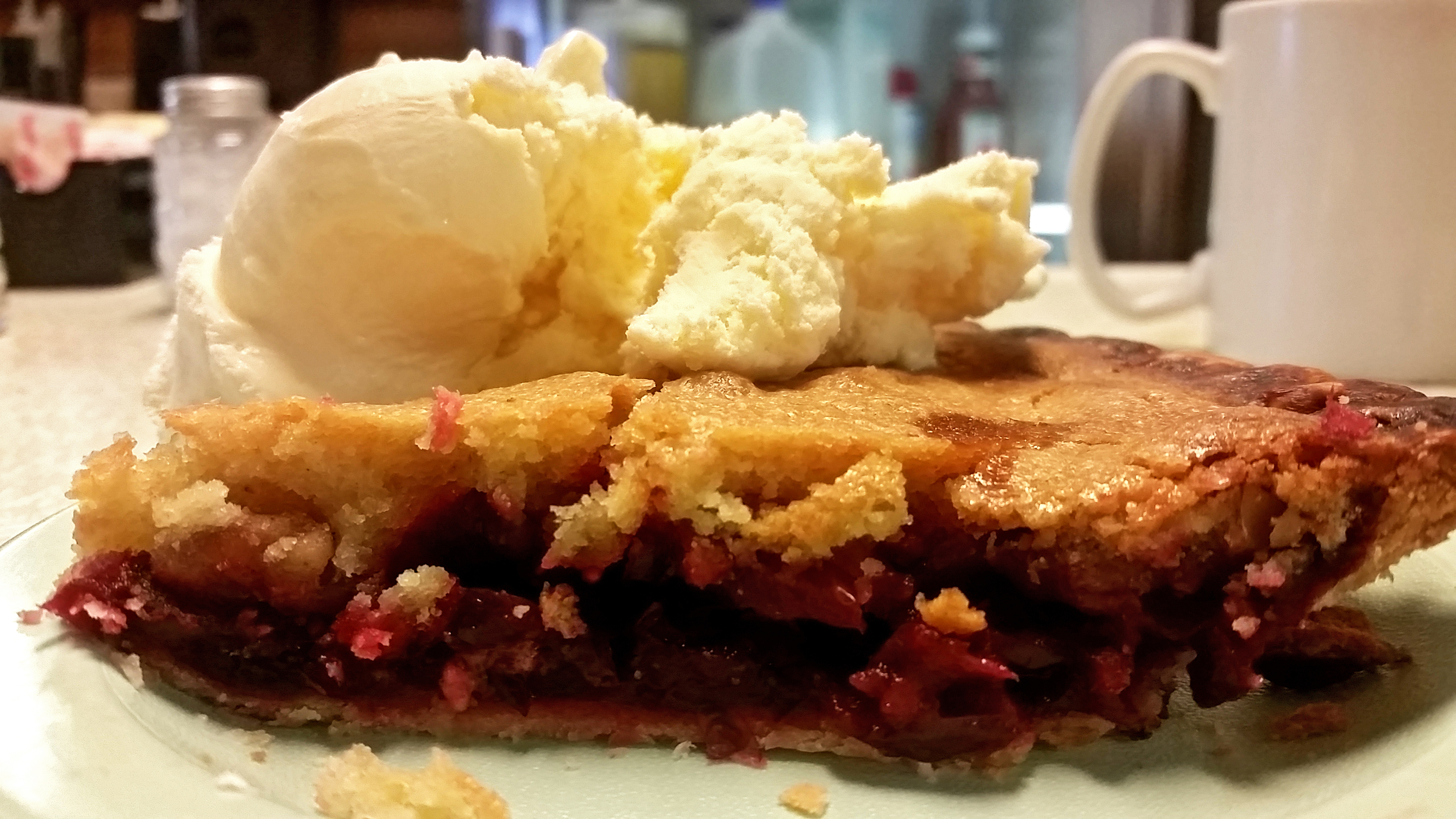 travel-wisconsin Babcock Cafe in Babcock, Wisconsin, serves a variety of cranberry pies, including cranberry nut with ice cream, pictured here. MUST CREDIT: Photo by Kate Silver for The Washington Post.