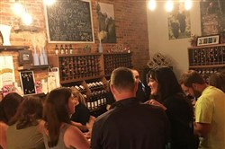 Customers in the tasting room of Yori Wine Cellars in North East, Pa.