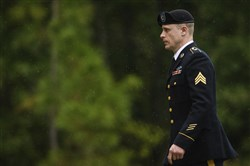 In this Oct. 16, 2017, file photo, Sgt. Bowe Bergdahl returns to the Fort Bragg courthouse after a lunch break in Fort Bragg, N.C.