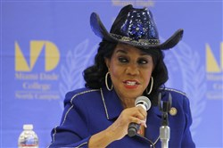 In this October 19, 2017, file photo, Rep. Frederica Wilson (D-FL) speaks in Miami.