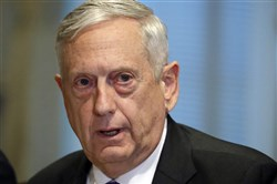 Defense Secretary Jim Mattis answers a question Thursday about the ambush of U.S. troops in Niger before a meeting with Israeli Defense Minister Avigdor Lieberman at the Pentagon.