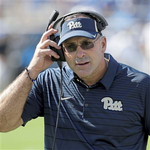 Pat Narduzzi watches from the sideline Saturday during Pitt's 24-17 win at Duke, which got the Panthers halfway to bowl eligibility.