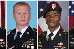 The four U.S. soldiers killed Oct. 4 in Niger are, from left, Staff Sgt. Bryan C. Black, 35, of Puyallup, Wash.; Staff Sgt. Jeremiah W. Johnson, 39, of Springboro, Ohio; Sgt. La David Johnson, 25, of Miami Gardens, Fla.; and Staff Sgt. Dustin M. Wright, 29, of Lyons, Ga. All were killed when a joint patrol of American and Niger forces was ambushed by militants believed linked to the Islamic State group.