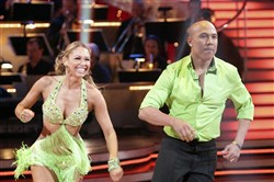 "Hines Ward and partner Kym Johnson during the 2011 edition of ""Dancing With The Stars."""