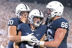 Penn State's Trace McSorley celebrates after scoring a touchdown against Michigan on Oct. 21.