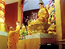 The Most Ven. Sakya Tri-Tru, president of the Vietnamese Buddhist Association, blessed the temple during the dedication of the new Vietnamese Buddhist Temple on Potomac Avenue in Dormont. The temple is located at the former Dormont United Methodist Church building.