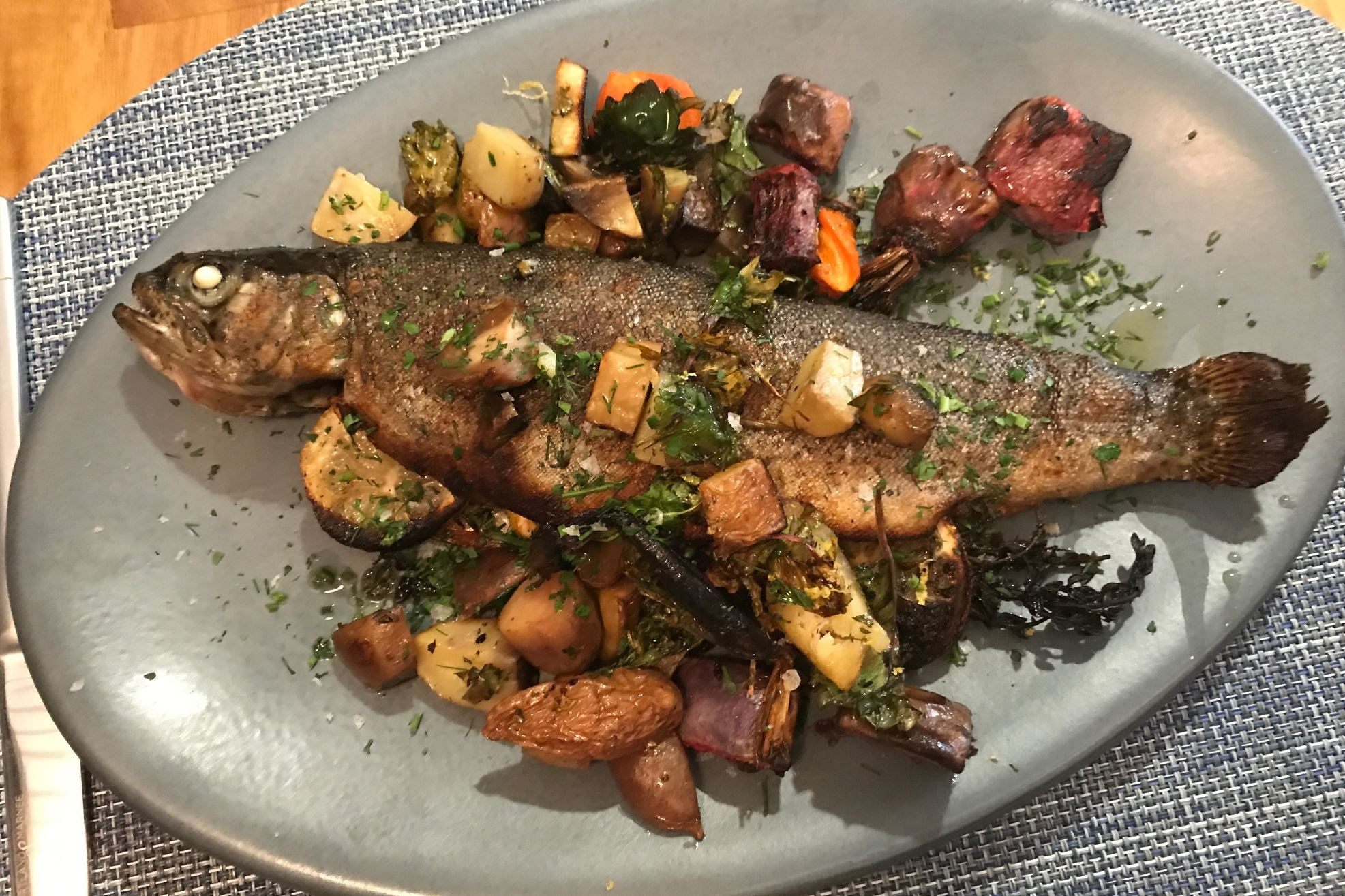 IMG_1054.JPG Whole trout with roasted vegetables at or,The Whale in the Distrikt Hotel, Downtown.