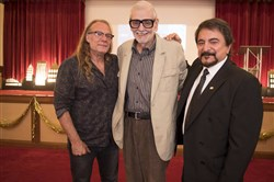 Greg Nicotero, George Romero and Tom Savini at the 2nd annual Elly Awards in April 2017.