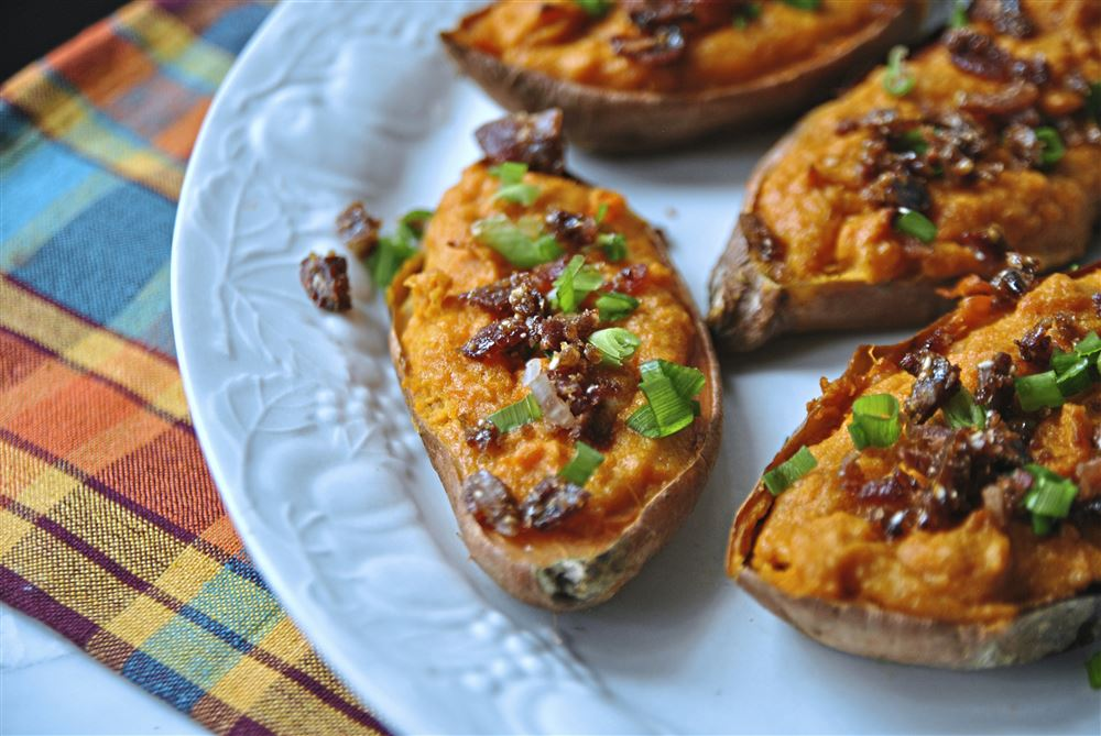 Sweet Potatoes With Bacon-Sesame Brittle