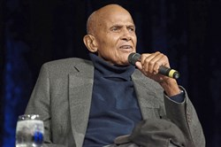 Harry Belafonte, speaking at Carnegie Music Hall.