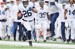 Saquon Barkley races down the sideline to score on the opening kickoff of Penn State's loss to Ohio State Oct. 28.