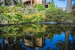 Scott and Tammy Graner's 1916 house and steep rock garden are reflected in a small pond in Ingram. The Graners are runners-up in the large category of the Great Gardens Contest.