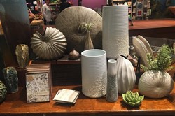 A display of vases at the Carnegie Museum of Natural History mimic nature in shape, texture or color. The large shell vase is $73; the mini-vase with circle grooves is $15.