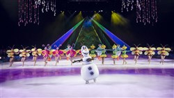 "Olaf and the ensemble from ""Disney on Ice  Frozen"" perform the musical number ""In Summer"" from the hit animated movie."