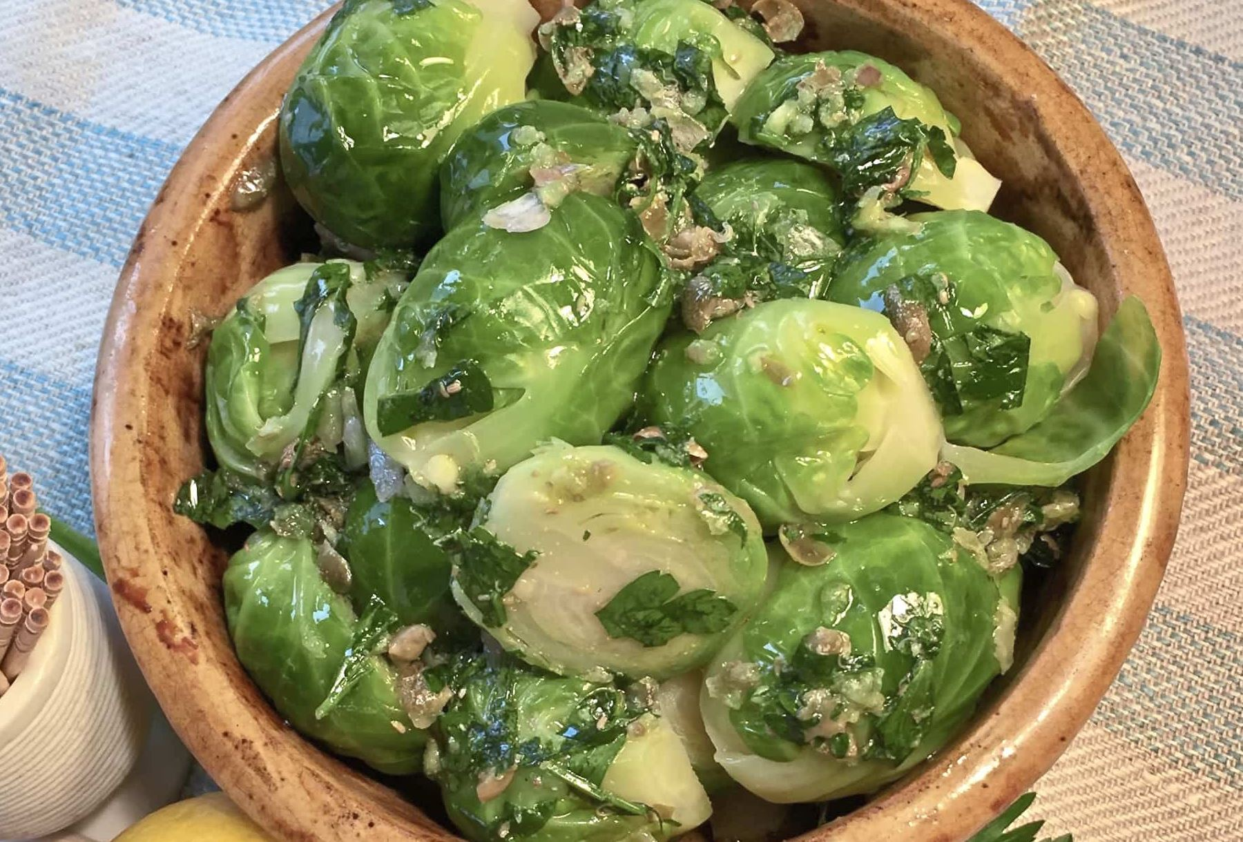 "NS thanksgiving sides Brussels Sprouts Pinzimonio Brussels sprouts pinzimonia from ""Power Greens"" by Dana Jacobi."