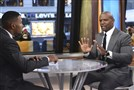"This image released by ABC shows actor Terry Crews, right with co-host Michael Strahan during a segment on ""Good Morning America"" on Nov. 15, 2017, in New York."
