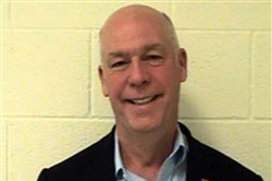 This Aug. 25, 2017, booking photo originally provided by the Gallatin County Detention Center shows U.S. Rep. Greg Gianforte, R-Mont.