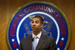 This file photo shows Ajit Pai, chairman of the Federal Communications Commission, at the federal agency's headquarters in Washington on June 23, 2017.