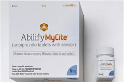 This photo provided by Otsuka America Pharmaceutical Inc. shows a rendering of the packaging for Abilify MyCite.