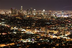 Los Angeles is seen at night from Griffith Observatory in a January 2000 file image.