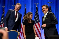 In this file photo, United States Trade Representative Ambassador Robert Lighthizer, Canada's Minister of Foreign Affairs Chrystia Freeland and Mexico's Secretary of Economy Ildefonso Guajardo Villarreal turn away after greeting each other after opening statements of the first round of NAFTA negotiations held at Marriott Wardman Park in Washington on Aug, 16, 2017.