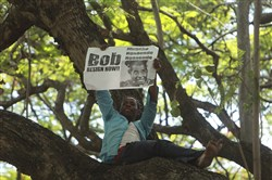 In this file photo, a demonstrator holds a placard demanding then-President Robert Mugabe to resign while seated in a tree outside parliament building in Harare, on Nov, 21, 2017.