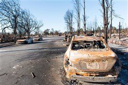 This file photo shows remnants from the fire in the Coffey Park neighborhood of Santa Rosa, Calif., on October 27, 2017.
