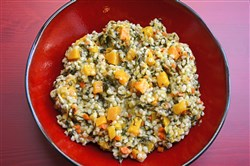 "Barley, Kale and Butternut Squash Risotto from ""Lidia's Celebrate Like an Italian."""