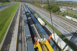 The view from a container crane looking down onto the loading and unloading area of the new CSX intermodal terminal in McKees Rocks.