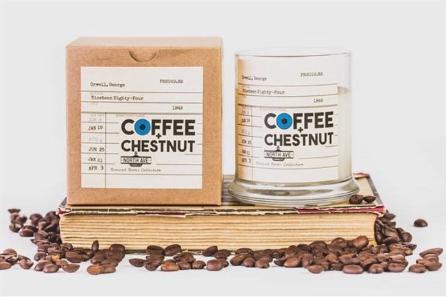 """The """"Coffee and Chestnut"""" candle from Pittsburgh-based Etsy boutique NorthAveCandles invokes the smells of a rebel meetup in George Orwell's """"1984."""""""