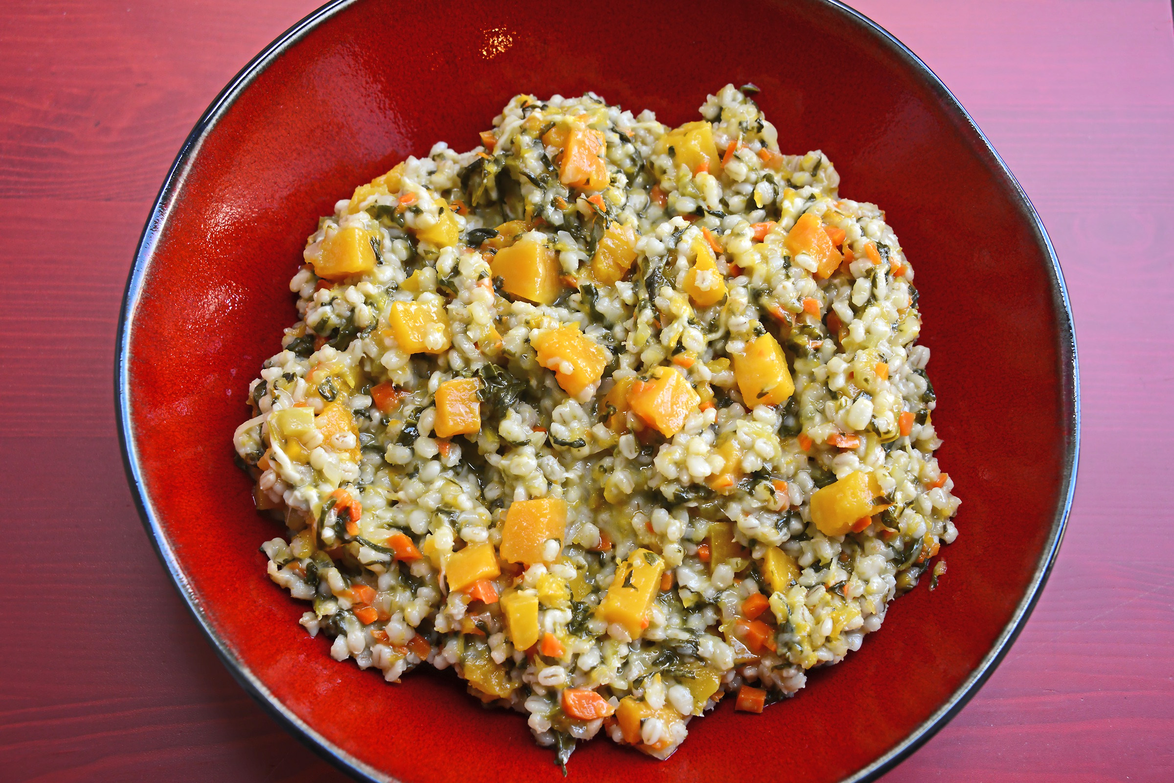 """20171101lf-Thanksgiving03-2 Barley, Kale and Butternut Squash Risotto from """"Lidia's Celebrate Like an Italian."""""""