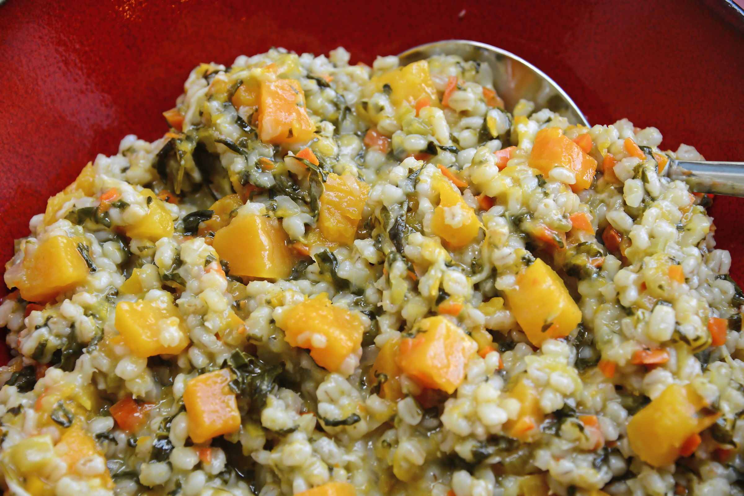 """20171101lf-Thanksgiving04-3 Barley, Kale and Butternut Squash Risotto from """"Lidia's Celebrate Like an Italian."""""""
