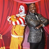Ronald McDonald and event emcee Arthur Moats at the Red Shoe Ball.