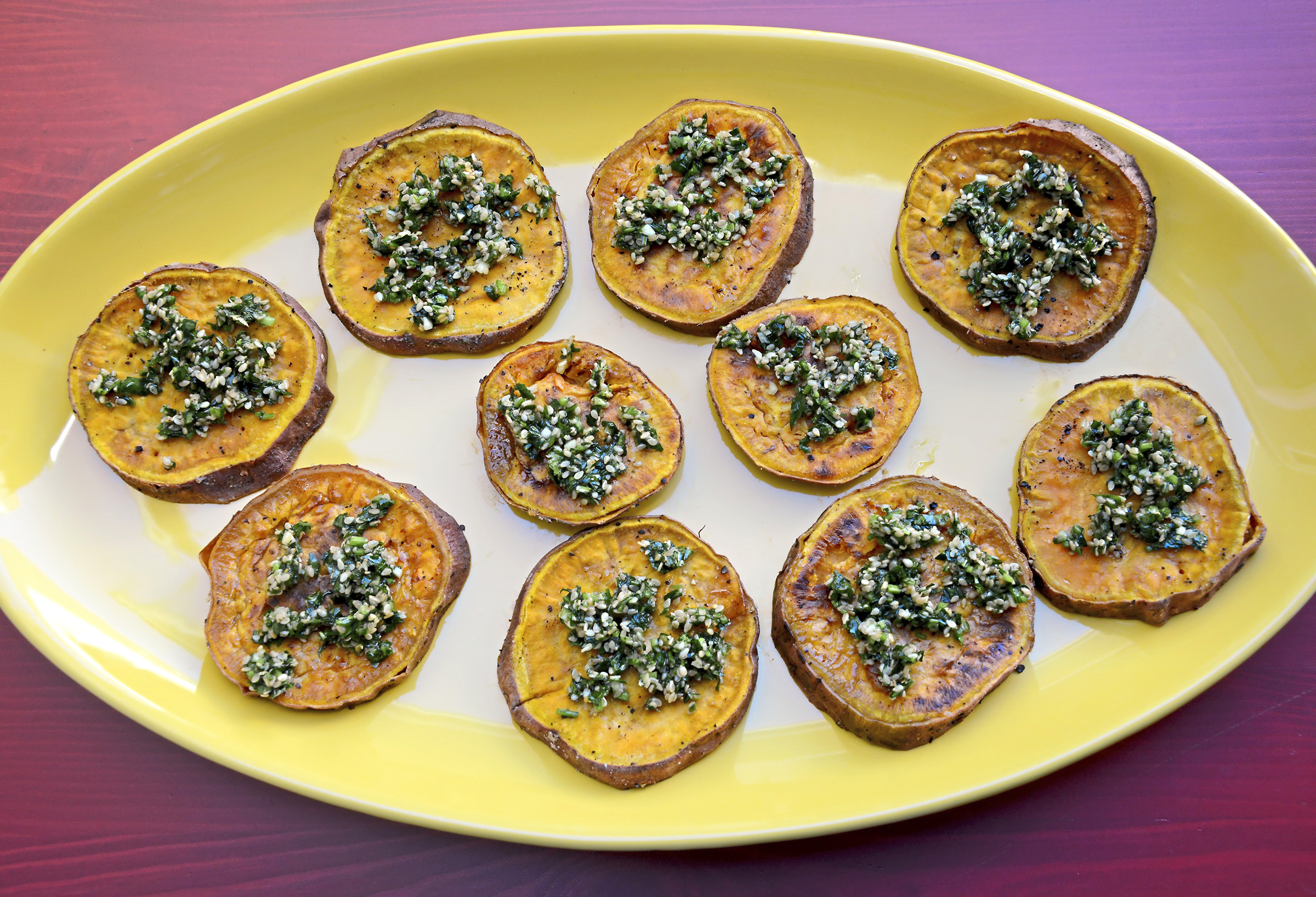 20171109lf-Thanksgiving01 Sweet potatoes are roasted and dressed with an herby hazelnut gremolata.