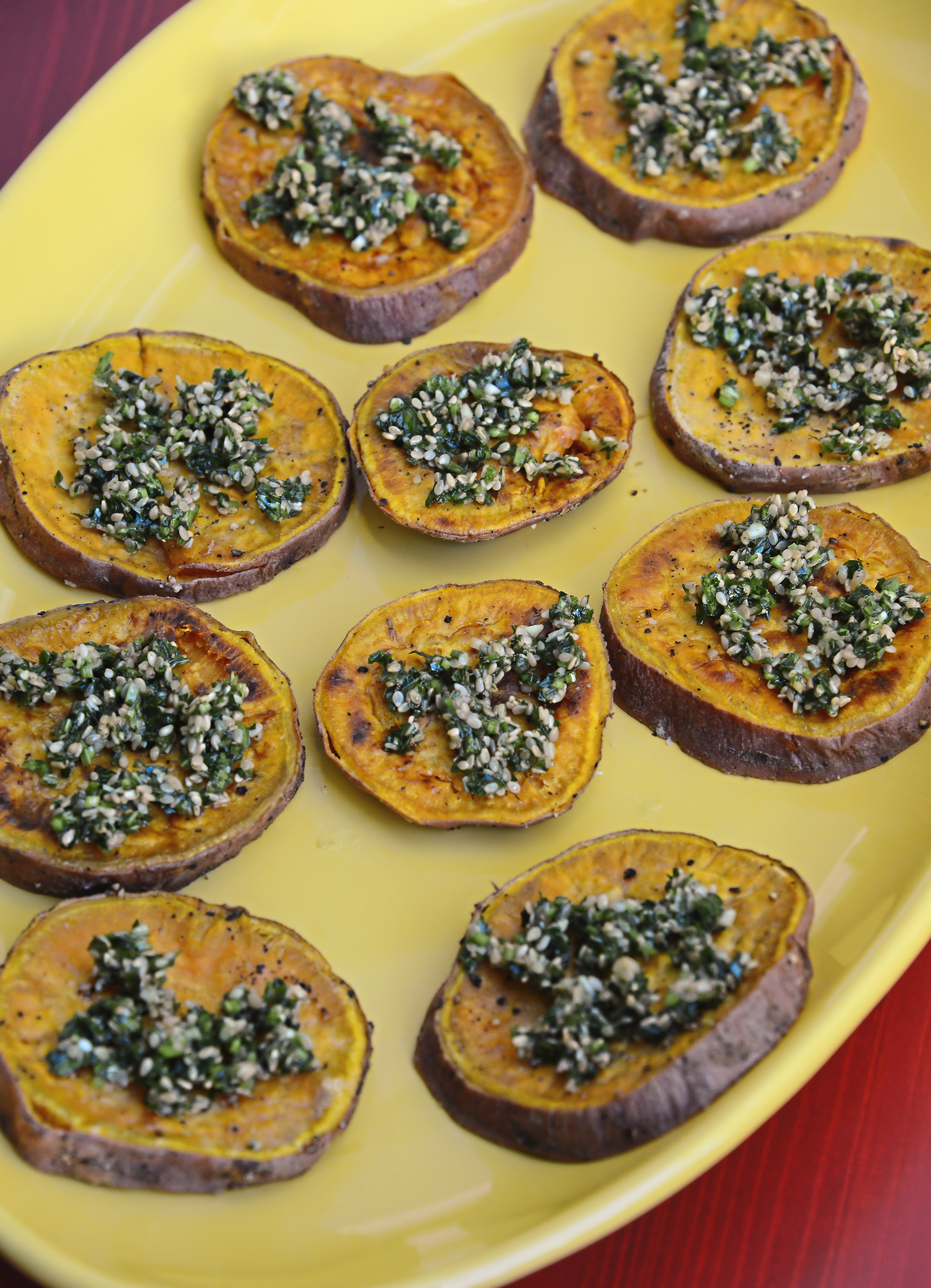 20171109lf-Thanksgiving02-1 Sweet potatoes are roasted and dressed with an herby hazelnut gremolata.