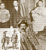 "Clockwise from top left: Sam and George Tate, Nettie's sons; Nettie with some of her husband's guns that she sold; an engraving of the author's ancestor Thomas Dexter with a Native American; and, at center, Isley Tate. (Images from Fayette County Historical Society and ""The History of Lynn."")"