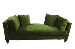 Chaise bench from Bernhardt in green velvet is perfect for any season.