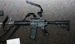 The AR-15-style Bushmaster rifle used by Adam Lanza in the 2012 Sandy Hook massacre in which 26 people were killed, including 20 children.