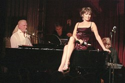 Lucie Arnaz, here performing at The Actors Fund Musical Mondays with accompanist Rob Abel in 2008, on Monday in Pittsburgh was with Abel for a two-show Trust Cabaret night.