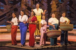 "Adrianna Hicks (center back) and cast members of the North American tour of ""The Color Purple,"" at the Benedum Center through Sunday."