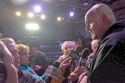 Braddock Mayor John Fetterman talks to the media after  announcing his bid for Lieutenant Governor in the Barebones Black Box Theater, Nov. 14, in Braddock.