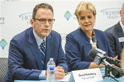 David Holmberg, president and chief executive officer of Highmark Health speaks during a press conference at the Highmark corporate headquarters on Wednesday, October 17, 2017 Downtown.