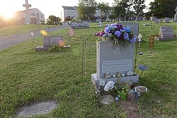 The gravesite of Paul Kochu at a cemetery in Pottstown.