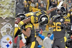 Receiver Antonio Brown scored three touchdowns and racked up 144 yards in a win against the Tennessee Titans Thursday at Heinz Field.