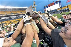 Pine-Richland teammates lift their trophy after winning the WPIAL 6A championship at Heinz Field Saturday, November 18, 2017.
