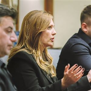 Elly Sheykhet, mother of slain University of Pittsburgh student Alina Sheykhet, speaks during an interview Friday at the Downtown Pittsburgh law offices of Dickie, McCamey & Chilcote. At left is her husband, Yan. Alina's brother, Artem, is at right.