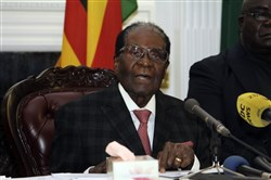 Zimbabwean President Robert Mugabe delivers his speech during a live broadcast at State House in Harare on Nov, 19, 2017.