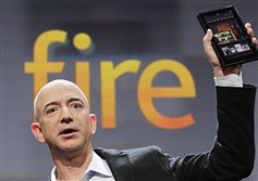 In this Sept. 28, 2017 file photo, Jeff Bezos, Chairman and CEO of Amazon.com, introduces the Kindle Fire at a news conference in New York.